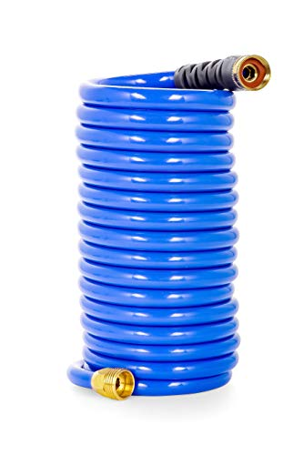 - Camco 20' Coiled Water Rust Resistant Brass Fittings, Hose Design Prevents Kinking and Tangling, for Car Washing and Gardening (41983)