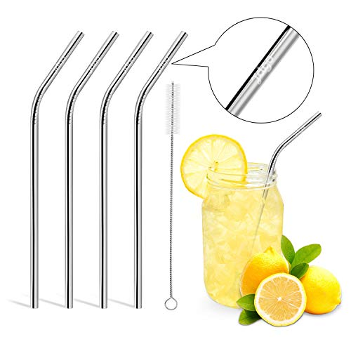 Cheap  Reusable Drinking Straws,Set of 4,Stainless Steel Straws -Cleaing Brush Included