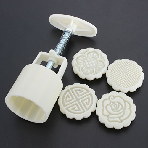 KINGSO Mid-Autumn Festival Mooncake Mold Hand Pressure Mould DIY Cake Decoration Tool (4 Flower Stamps Round)