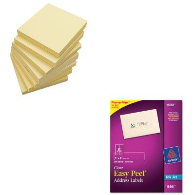 KITAVE18661UNV35668 - Value Kit - Avery Easy Peel Mailing Labels For Inkjet Printers (AVE18661) and Universal Standard Self-Stick Notes (UNV35668) by Avery