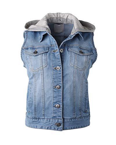 Dream Supply Women's Juniors Sleeveless Hooded Jacket Cropped Denim - Denim Top Vest