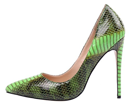 Pump Shoes Adult (MONICOCO Women's Pointed Toe Snake Print Party Pump Shoes Green 7.5 M US)