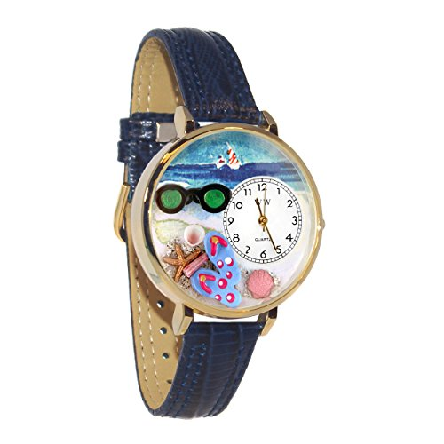 Whimsical Watches Women's G-1210015 Flip-flops Dark Blue Leather Watch by Whimsical Watches