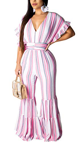 LKOUS Womens Casual Short Sleeve Stripe Waist Wide Leg Pants One Piece Jumpsuits Romper Overall Playsuit