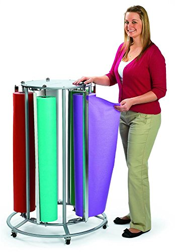 Angeles-Mobile-36-Inch-5-Paper-Roll-Cutter-Storage-Holder-Floor-Steel-Rack-Dispenser-Stand-Cart