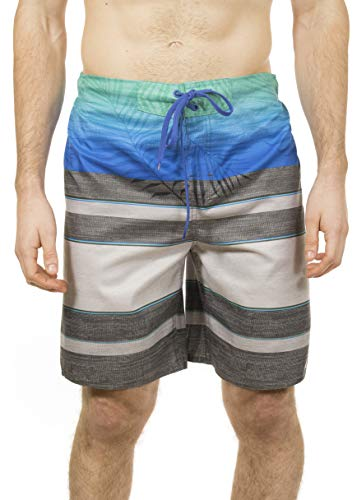 LAGUNA Mens Faded Palm Tropical Stripe Boardshorts Swim Trunks, UPF 50+, Aqua/Grey, S (Laguna Stripe)