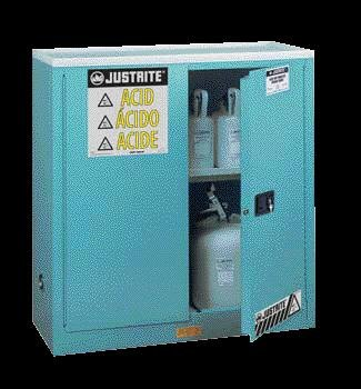 Justrite 45 Gallon Blue Sure-Grip EX 18 Gauge Cold Rolled Steel Safety Cabinet With (2) Self-Closing Doors And (2) Adjustable Shelves (For Corrosive Acids)