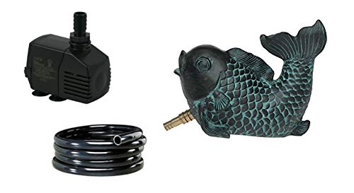 (Custom Pro Fish Spitter with 100 GPH Pump and 3 Feet of Tubing - Great Combo for Pond, Small Water Garden or Patio Decor, Adds Soothing Sound of Water)