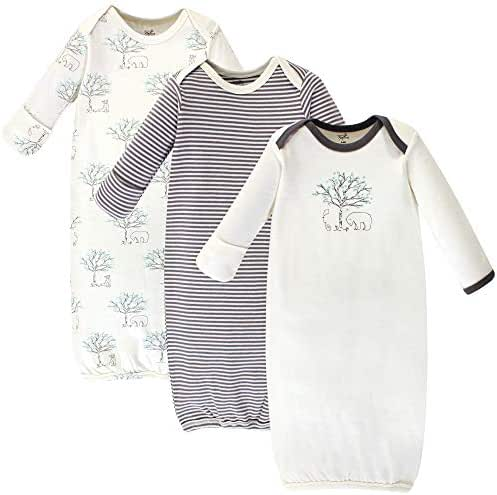 Touched by Nature Unisex Baby Organic Cotton Gowns, Birch Trees 3-Pack, 0-6 Months