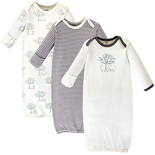 Touched by Nature Baby Organic Cotton Gowns, Birch Trees 3-Pack, 0-6 Months