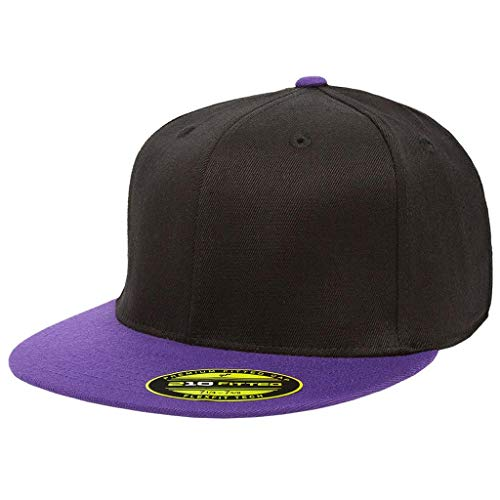 "(Premium 210 Flexfit Fitted Flatbill Hat with NoSweat Hat Liner (S/M (6 7/8"" - 7 1/4""), Black/Purple))"