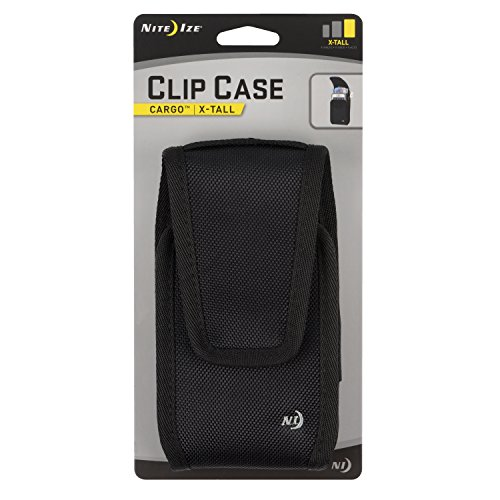Nite Ize Clip Case Cargo Phone Holster - Protective, Clippable Phone Holder for Your Belt Or Waistband - Extra Tall - Black
