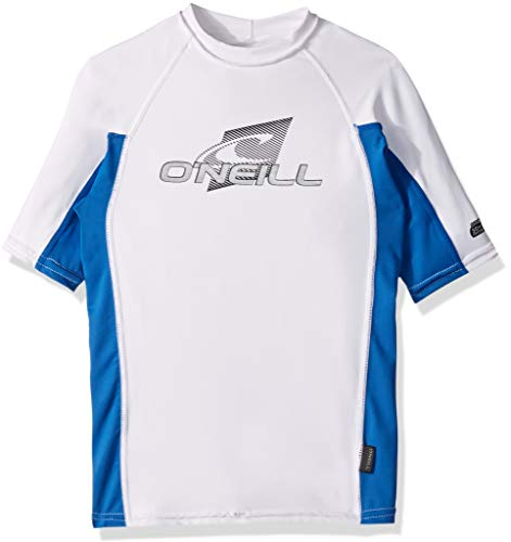 O'Neill Wetsuits Youth Premium Skins Upf 50+ Short Sleeve Rash Guard, White/Deep-sea/White, Size 6