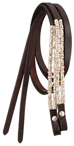 Tough-1 7' Long Leather Show Reins with Silver Ferrules and Rawhide. Color Choice. (Dark Oil)