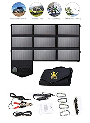 Kyng Power 60w Portable Solar Panel Foldable Charger-Can Be Used For Suaoki/Rockpals/Jackery and Many Other Brands- 18V Charging 5V USB 12V car charging/Camping, Emergency, Laptop, iPhone, Tablet, etc