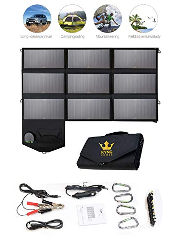 - Kyng Power 60w Portable Solar Panel Foldable Charger-Can Be Used For Suaoki/Rockpals/Jackery and Many Other Brands- 18V Charging 5V USB 12V car charging/Camping, Emergency, Laptop, iPhone, Tablet, etc