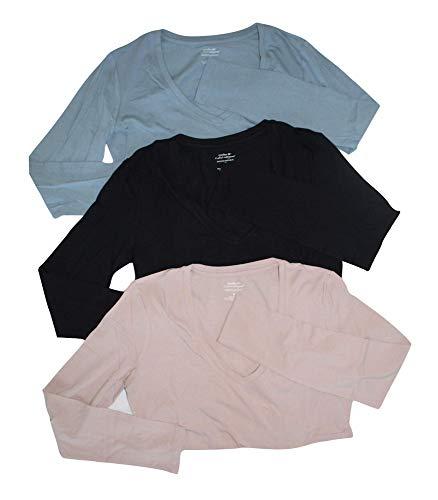 Banana Republic Lot of 3 Women's L/S Timeless V-Neck Tee Shirt (Small) Blue, Rose, Black Vee Shirts from Banana Republic Factory