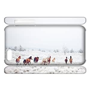 3D [Art Prints] Winter Horses Case for iphone 4s, iphone 4s Case Antishock for Women Protective {White}