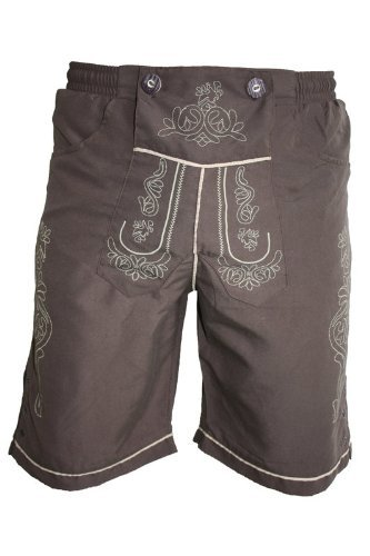 Edelnice Trachtenmode Men's Traditional Bathing Shorts in The Leather Trousers (XXX-Large, Brown)