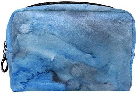 Makeup Toilettas voor Vrouwen Purse Cosmetische Travel Kit Organizer blauw marmer