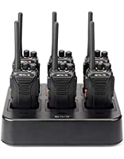 Retevis RT27 Walkie Talkie Long Range Rechargeable 2 Way Radio 22 Channel VOX Two Way Radios(6 Pack) with Six Way Gang Charger