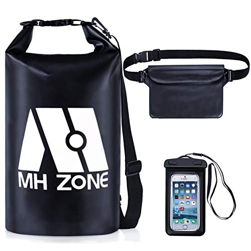 - MH Zone Waterproof Dry Bags Set of 3, Detachable Shoulder Strap, Waist Pouch & Phone Case, Fit for Boating, Kayaking, Fishing, Rafting, Swimming and Beach (5L Black)