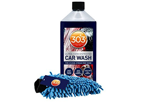 303 Car Wash and Wash Mitt – Excellent soap & shampoo for detailing cars RVs motorcycles ultra-concentrated car wash and wax formula produces high foam, no residue, Works great with foam cannons.