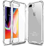 iPhone 8 Plus Case, Crystal Clear Shock Absorption Reinforced Corners TPU Bumper Cushion + Hybrid Rugged Transparent Panel Cover for Apple iPhone 7 Plus/8 Plus (Clear) (Clear)
