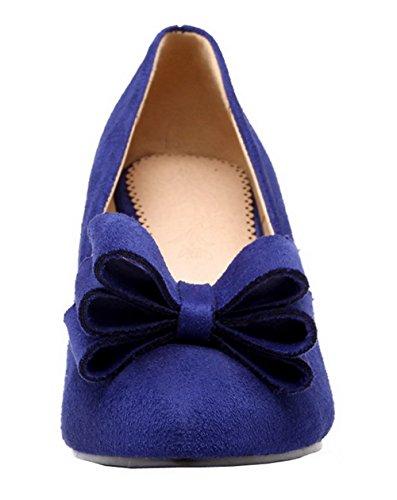 Allhqfashion Femmes Bout Fermé Imitation Daim Solide Kitten-heels Pompes-chaussures Bleu
