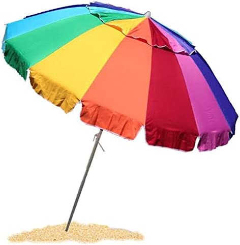 EasyGo 8 Foot Heavy Duty HIGH Wind Beach Umbrella – Giant 8 Beach Umbrella with Sand Anchor Carrying Bag -Sturdy Pole and Thicker Fiberglass Ribs for High Wind Resistance