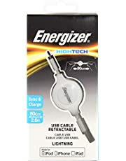 Energizer Energizer HIGHTECH Retractable Lightning Cable, White, (C31UBLIREWH5W)