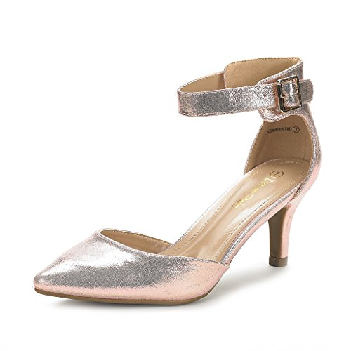 DREAM PAIRS Women's Lowpointed Champagne Low Heel Dress Pump Shoes - 5 M US