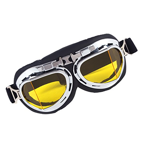 (Vintage Motorcycle Cruiser Scooter Goggle Ski Snowboard Bike Racer MTB Bicycle Glasses Yellow)