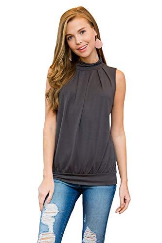 Solid Mock Neck Top - Classic Mock Neck Tank - Pleated Turtleneck Sleeveless Dressy Jersey Top w/Waistband (Solid - Ash Grey, Medium)
