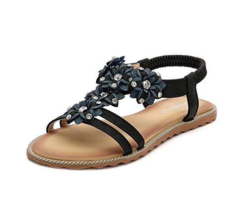 HNGHOU Women's Beach Bohemia Sandals Summer Beach Sandal Flat Sandals (Black,US 9.5) (Leather Jeweled Sandals)