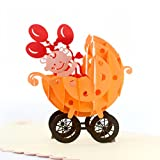 CUTEPOPUP BABY STROLLER 3D POPUP GREETING CARDS - Celebrate Birth of Girls, Baby Showers, Birthdays, Congratulations, Baby Gift - Strollers (Pink).