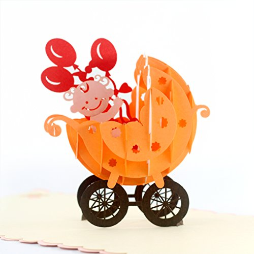 CUTEPOPUP BABY STROLLER 3D POPUP GREETING CARDS - Celebrate Birth of Girls, Baby Showers, Birthdays, Congratulations, Baby Gift - Strollers (Pink). by CutePopup