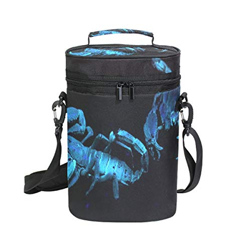 Wine Totes Travel Carrier Cooler Bag with Shoulder Strap Scorpions Glow Under Blacklight 2 Bottle Picnic Cooler Bag with Insulated Neoprene Leakproof Liner,Water Drinks Beer Lunch Bag for Grocery,Camp