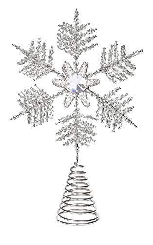 BIRDROCK HOME Snowflake Christmas Tree Topper | Silver Stainless-Steel | Heavy | Metal Coil | Treetop Holiday Decorations | Hallow Middle | Decorative Beads Glimmering Rhinestone