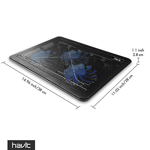 Havit HV-F2056 15.6''-17'' Laptop Cooler Cooling Pad - Slim Portable USB Powered (3 Fans) (Black+Blue) by Havit (Image #8)