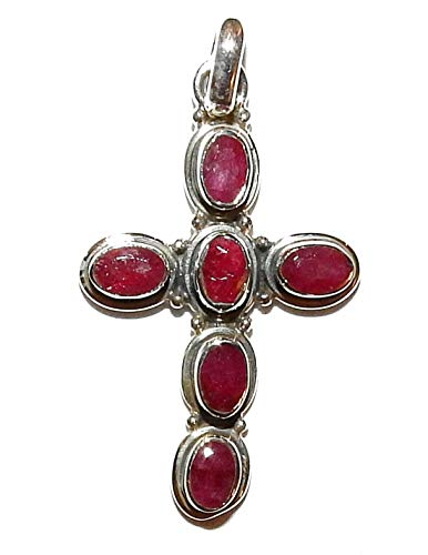SunnyCrystals Ruby Cross Pendant Sterling Silver High Vibration Spiritual Energy RBP005