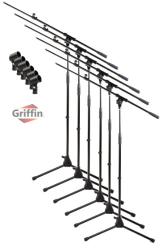 Telescoping Microphone Boom Stand with Mic Clip (Pack of 6) by Griffin | Tripod Premium Quality for Studio, Karaoke, Live Performances, Conferences | Portable with Collapsible Legs & Removable ()