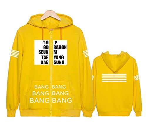 Bigbang Hoodie G-Dragon TOP Sweater Long Sleeve Zip Jacket Pullover S Yellow