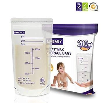 MMBABY 100 Unidades Bolsas de Almacenamiento de Leche Materna – (80OZ/200ml) Pre-esterilizadas,pueden meterse en el Congelador,Autoportantes,con Área ...