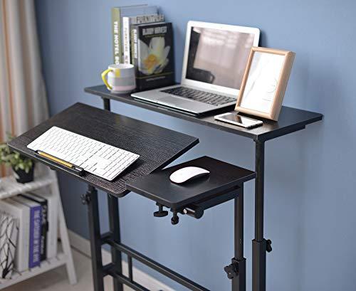 SIDUCAL Mobile Stand Up Desk, Adjustable Laptop Desk with Wheels Storage Desk Home Office Workstation, Rolling Table… 2