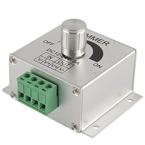 Light Controller, Aluminum Single Color Dimmer Switch LED Dimmer Controller for Strip Light DC12-24V, Output Current: 8A