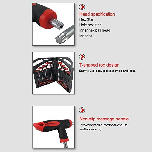 Gorgeri 16Pcs T‑Handle Hex Star Wrench Key Set Ball End 2 Drive Screwdriver Repair Hand Tools