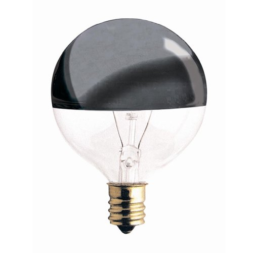 Bulbrite 25G16HM-5PK Half Chrome 25W Globe Shape Bulb, 5-Pack (Chrome Globe Bulb)