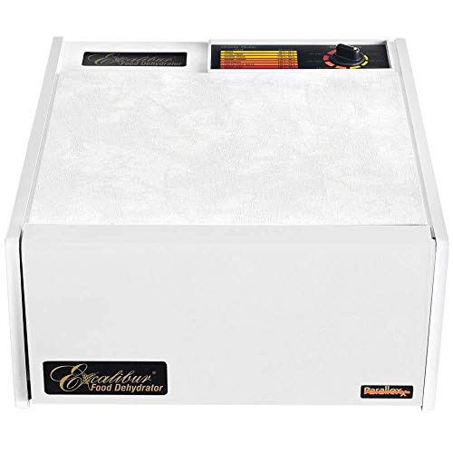Excalibur 3500W 5-Tray Electric Food Dehydrator with Adjustable Thermostat Accurate Temperature Control Faster and Efficient Drying Includes Guide to Dehydration Made in USA, 5-Tray, White