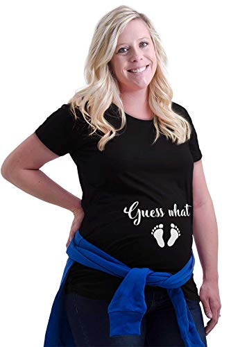 - Guess What Footprints Pregnant Maternity Maternity T Shirt